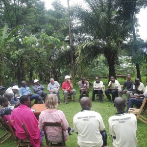 Discussions with Butta sub-county farmers participating in the project's long-term trials. Photo May Muthuri